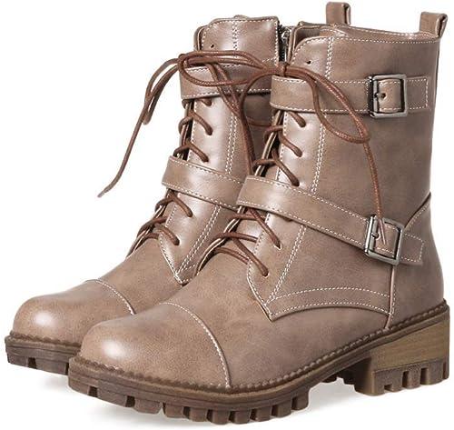 ZHRUI botas para mujer - Botines con Cordones Tacón bajo Grueso con botas para mujer botas Cortas de Invierno 34-43 (Color   Caqui, tamaño   39)