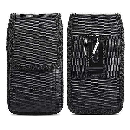 JIUNINE Outdoor Handyhülle für AEG Voxtel M250 / Emporia v50 / TOUCHsmart, Gürteltasche Handytasche Oxford Leinwand Gürtel Schutzhülle Hülle Kompatibel mit Doro 5030 3,5-4,0 Zoll Smartphone, Schwarz