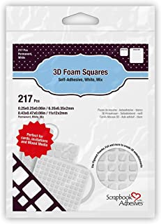 Scrapbook Adhesives by 3L Scrapbook Adhesives, Permanent Pre-Cut 3D Foam Squares, White, Mixed Variety (Pack of 217)