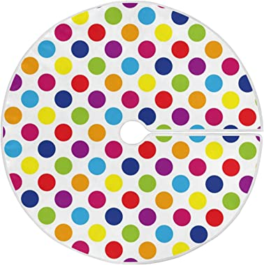 ALAZA Color Dot Christmas Tree Skirt Ornament 48inch Diameter Christmas Decoration New Year Party Supply(916m)