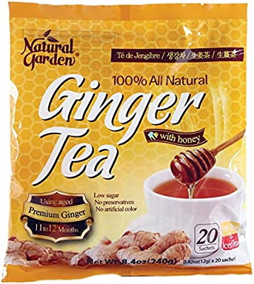 Natural Garden 100% All Natural Ginger Tea with Honey 20 Tea Sachets (Pack of 6)