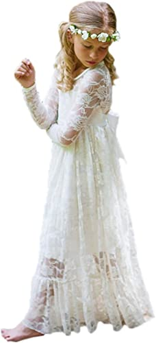 Stunning White Lace Bohemian Spirit Long Lace Sleeve Flower Girl Occasion Dress