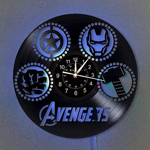 YHMJ Wall Clock 12-Zoll-Vinyl-Schallplatten-Wanduhr, handgefertigte Marvel Hero Silent-Uhren im Retro-Stil mit 7 farbigen LED-Leuchten für Wohnzimmer, Wohnkultur,mit LED