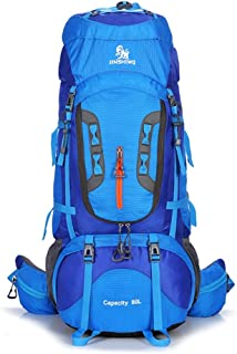 JIAN YA NA Outdoor Mountaineering Large Capacity 80LWaterproof Breathable Suspension Bracket Backpack Cycling and Hiking Backpack with Rain Cover
