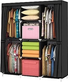 YOUUD Wardrobe Storage Closet Clothes Portable Wardrobe Storage Closet Portable Closet Organizer Portable Closets Wardrobe Closet Organizer Shelf Wardrobe Clothes Organizer Standing Closet Black