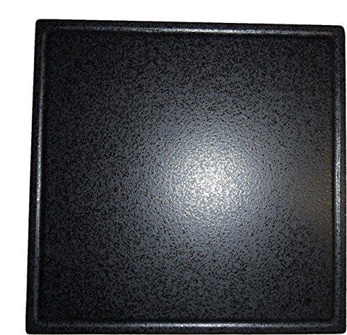 Grillstein, Pizzastein, Heißer Stein, Brotbackstein aus glasiertem Cordierit 485x485x20mm mit Saftrille