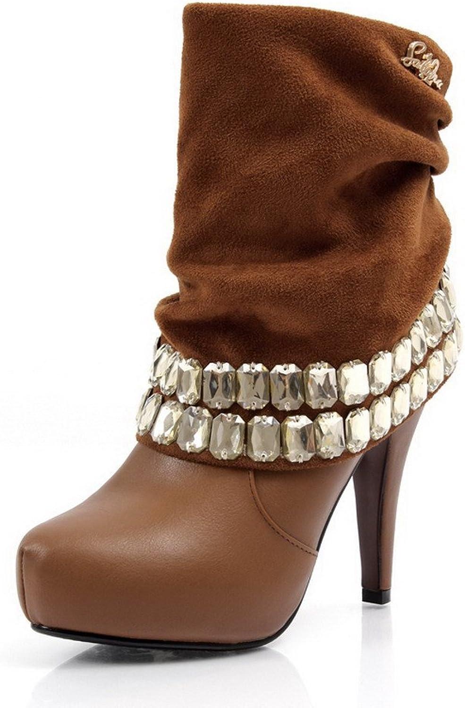 QueenFashion Women's Platform Glitter Studded Zircon Ruched Solid Cone Heels Suede Mid-Calf Boots