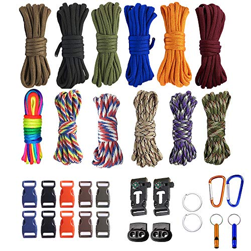 TooTaci 350lb Survival Paracord Combo Crafting Kits, Including 10ft Colorful Paracord Straps and 12 Buckles & Carabiner and Key Rings