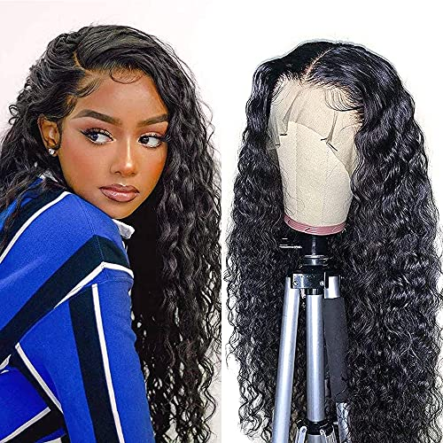 Water Wave Lace Front Wigs Human Hair Brazilian Virgin Human Hair 13X4 Lace Frontal Wigs 150% Density Pre Plucked With Baby Hair Natural Black Kropan Wigs For Black Women 18 Inch