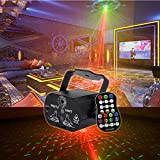 Wonsung Christmas 40 gobos red green RG light 3W LED BLUE Stage Lighting Projector Spotlight auto Sound/ Music Active DJ Equipment for Disco DJ party club Christmas Lights
