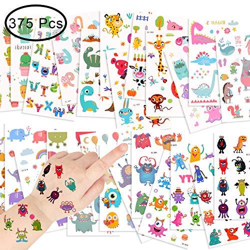 EKKONG 25 Stücke Monsters Tattoo, Elefant Tier Tattoo Aufkleber - 375 Monsters Kinder Temporäre Tattoos Aufkleber für Jungen Mädchen
