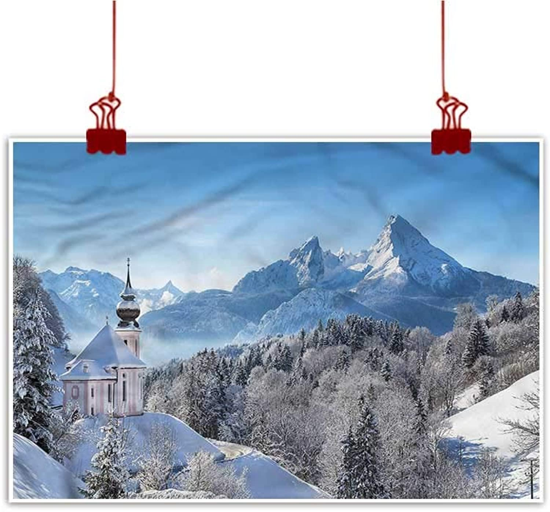 Mangooly Fabric Cloth Rolled Winter,Bavaran Alps Germany 48 x32  for Boys Room Baby Nursery Wall Decor Kids Room Boys Gift