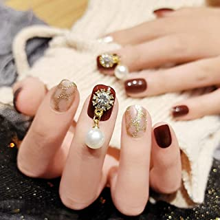 Sethexy Glossy Squoval Short False Nails Brown Glitter Pearl Studs Full Cover Acrylic 24Pcs Fake Nails Tips for Women and ...