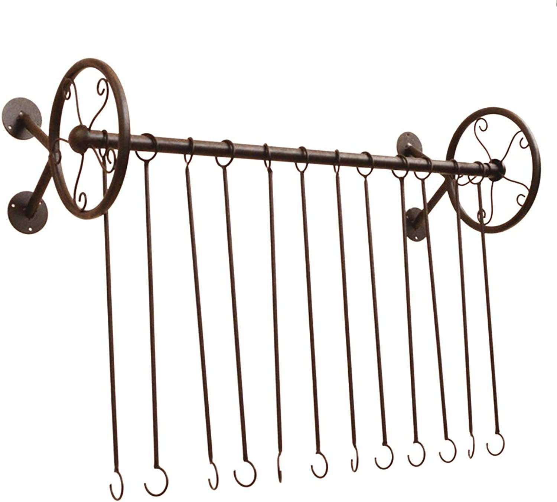 QIANGDA Coat Rack Wall Mount Display Shelf Single Pole Hanger Iron Metal Strong Bearing Force for Clothing Shop Modern Stylish Style, Multi-Size Optional (Size   80cm+10 Hooks)