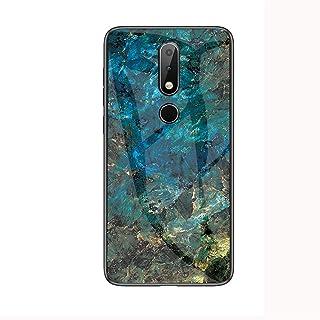 حافظة هاتف فيجيشلي رخامي جلاس متوافقة مع نوكيا 6.1 بلس/X6، مع [حافة ناعمة + غطاء خلفي من الزجاج المقوى] (رخامي جادييت)