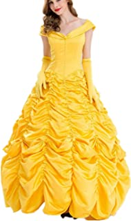 9c90f0cc72b BBSMYA Robe de Princesse Femme Jaune Déguisement Adulte Costume Cosplay  Belle épaule Nu avec Gants Robe