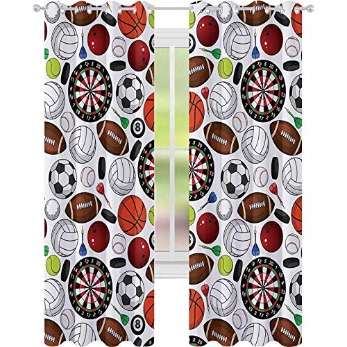 Window Curtain Blackout Curtain, Pattern with Billiards Balls Hockey Pucks Darts Arrows and Target Boards Image, W52 x L63 Print Curtains for Bedroom/Living Room, Orange White Burgundy