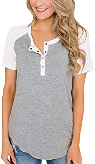 CCOOfhhc Womens Loose Blouse Summer Short Sleeve Round Neck Button Down T Shirts Color Block Casual Tunic Tops
