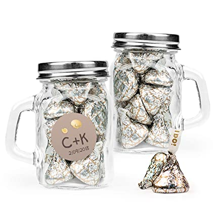 Amazon Com Beach Themed Wedding Favors Personalized Mini Glass Mason Jars With Hershey S Kisses 24 Pack Grocery Gourmet Food