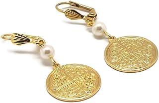 TREFLE orecchini ottone 24k oro perla resina swaroksi regali personalizzati natale compleanno cerimonia matrimonio ospiti ...
