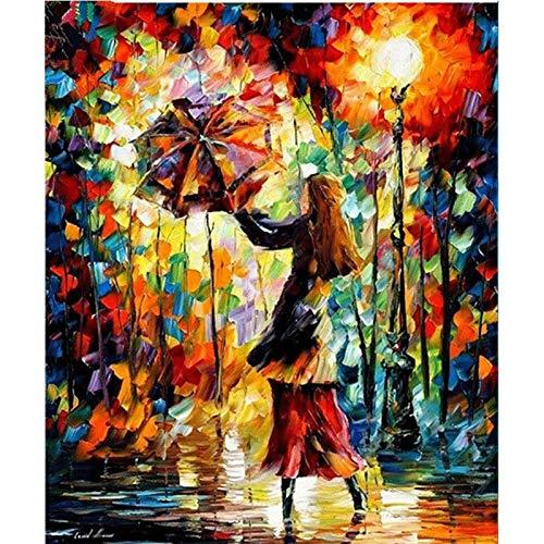 Lazodaer - Pintura de diamantes de imitación para manualidades, decoración de pared para el hogar, mujer, con paraguas, 30 x 39 cm