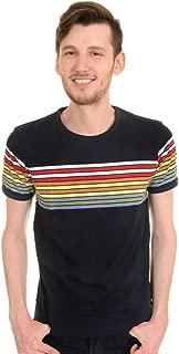Run & Fly Mens 60s 70s Retro Rainbow Striped T Shirt