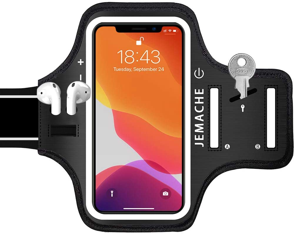 iPhone 13, 12, 11, XR Armband with AirPods Holder, JEMACHE Water Resistant Gym Running Workouts Arm Band Case for iPhone XR, 11, 12, 12 Pro, 13, 13 Pro with Key Holder (Black)