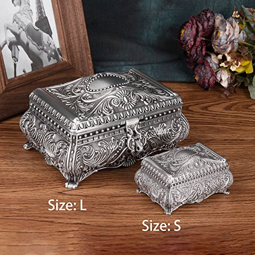 Feyarl Vintage Jewelry Trinket Box Rectangle Box Metallic Floral Engraved Earring Ring Chest Case Necklace Organzier Storage Box Wedding Brithday Gift