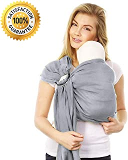 Stylish Ring Sling Baby Carrier – Soft Bamboo Linen Fabric – Lightweight Wrap – for Newborns Infants Toddlers – The Perfect Baby Shower Gift – Nursing Cover – Great for New Parents (Silver Grey)