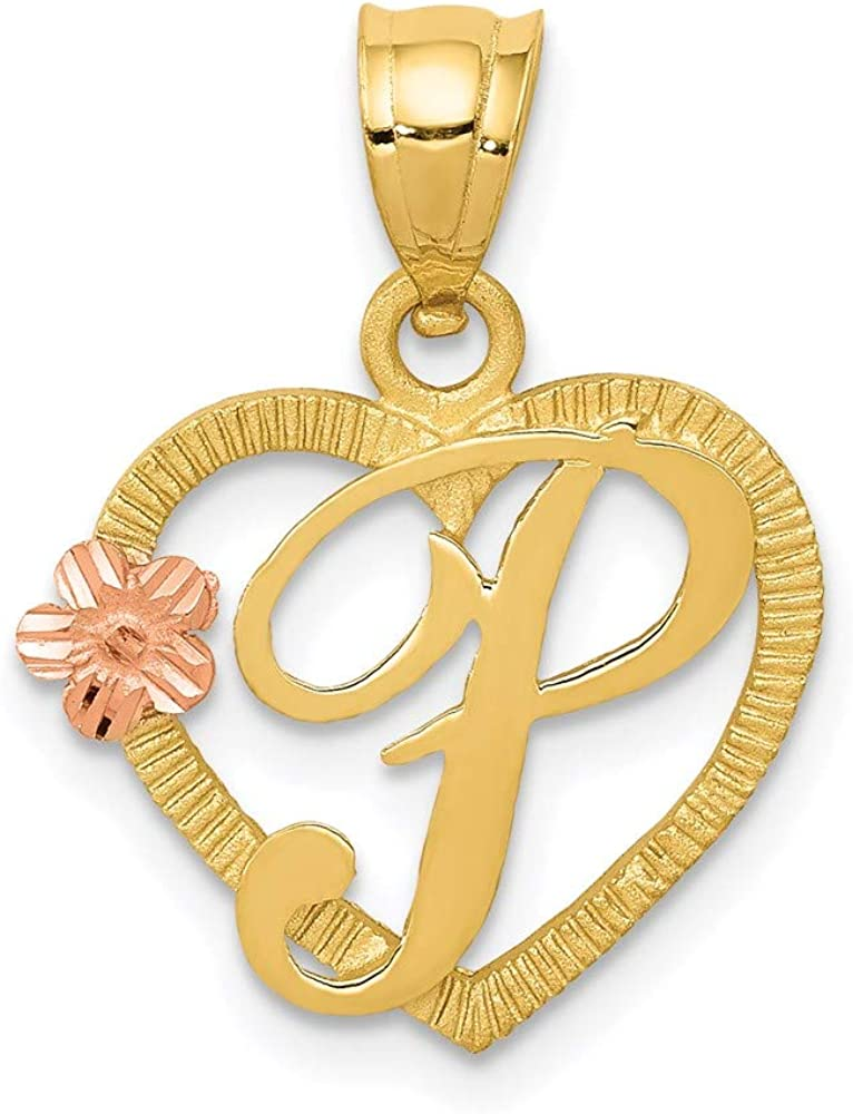 14k Two Tone Yellow Gold Heart Letter P Initial Monogram Name Pendant Charm Necklace Love Fine Jewelry For Women Gifts For Her