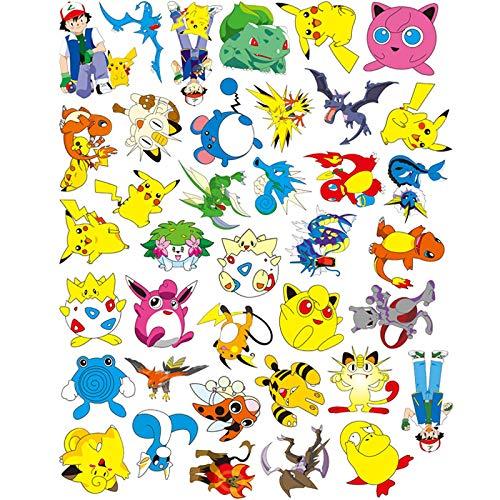 Later Pokemon Pikachu Pok Mon-Aufkleber, Gitarre, Notizbuch, Koffer, Gepäck, Cartoon-Aufkleber, 38 Stück