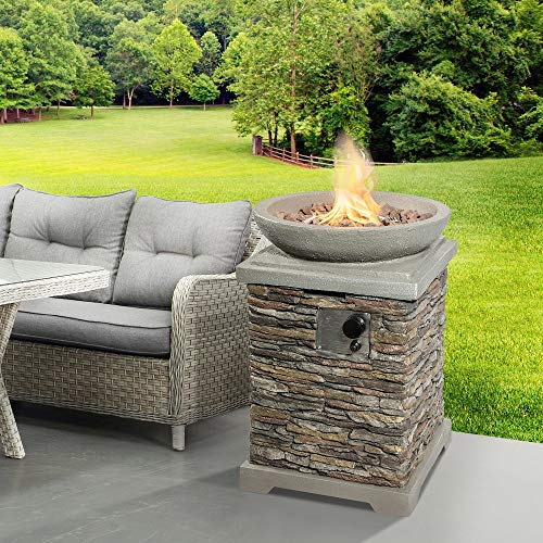 Peaktop Firepit Outdoor Gas Fire Pit Effect with Lava Rock & Cover HF29308AA-UK, Stone Grey