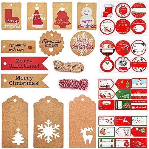Etiquetas de regalo de Navidad Etiquetas y etiquetas de regalo de Kraft, 242 Pcs Etiquetas de papel de regalo de Navidad perfectas para decorar árboles de Navidad, trabajo manual