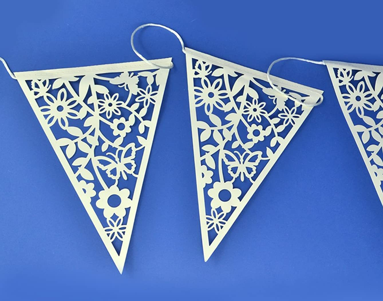 8m Ivory Paper Lace Bunting - 20 Flags | Wedding Celebrations Party Decorations