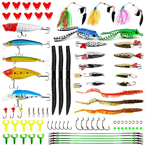 Apusale Fishing Lures Kit Bass Baits Tackle-Including Crankbaits, Spinnerbaits, Plastic Worms, Jigs, Topwater Lures, Tackle Box and More Fishing Gear Lures Kit Set