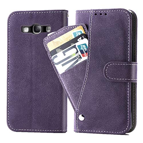 Asuwish Galaxy S3 Case.Phone Cases Wallet Leather with Credit Card Holder Slim Rugged Kickstand Stand Flip Folio Magnetic Protective Cover for Samsung GalaxyS 3 III I9300 GS3 Women Girls Purple
