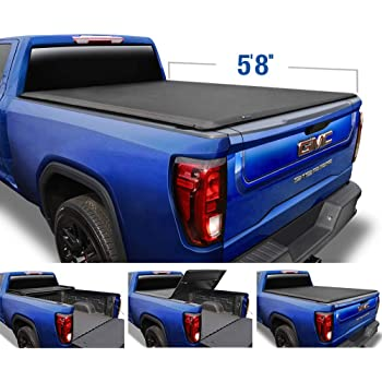 "Tyger Auto T3 Soft Tri-Fold Tonneau Cover Compatible with 2019-2020 Chevy Silverado/GMC Sierra 1500 New Body Style | 5'8"" Bed 