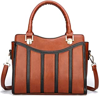 Trendy Lady Stitching Fashion Tote Contrast Shoulder Bag Joker Crossbody Bag Zgywmz (Color : Brown, Size : 28 * 11 * 22cm)