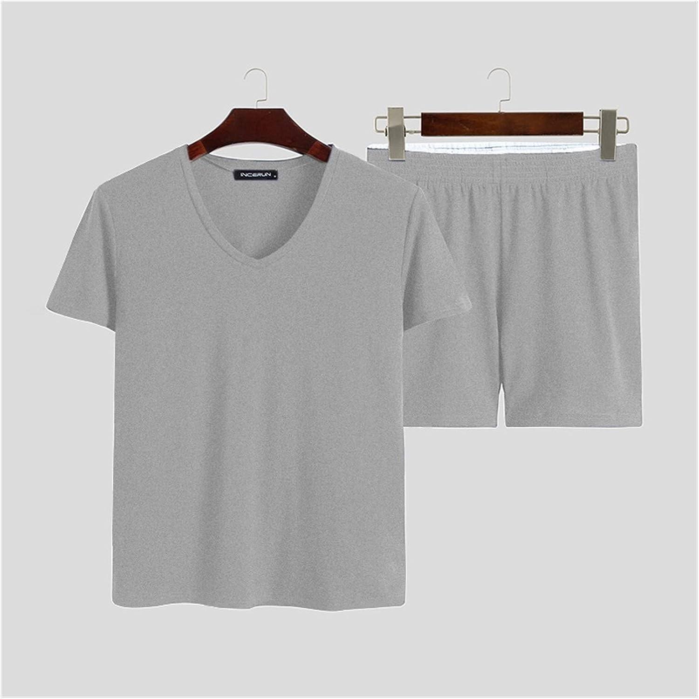 Men Pajamas Sets Solid Homewear Short Sleeve V Neck Tops Sleepwear Shorts Leisure Nightwear Suits Men 2 Pieces INCERUN S-5XL (Color : Gray, Size : XXXL)