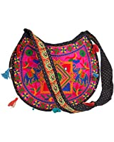 Floral Colorful Shoulder Bag Crossbody Hobo Satchel Hippie Boho Fashion Women Functional Stylish Everyday (Pink Elephant)