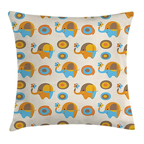FAFANI Modern Throw Pillow Cushion Cover, Abstract Elephant with Butterfly and Oval Circles Childish Pattern Kids Print, Decorative Square Accent Pillow Case, 18 X 18 inches, Orange Taupe Blue