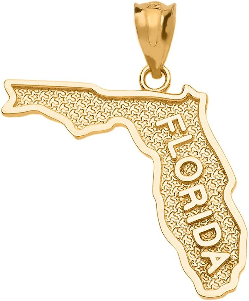 Florida US State Map shipfree Charm Pendant Yellow 14k in Gold 55% OFF