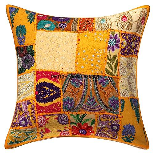 Housse de coussin décorative « Coton fait main patchwork brodée à paillettes fleurs ethniques feuilles géométriques carrées dispersées au sol Taie d'oreiller indienne 61 x 61 cm