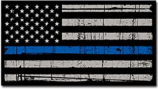 USA Map Thin Blue Line Decal US Tattered American Flag Police Car Sticker