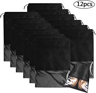 12 Pcs Bolsas de Zapatos, Zapatos de Viaje Bolso,Multifunción A Prueba de Polvo No Tejidas Portátil Bolsas para Zapatos Plegable Ventana Transparente Con cordón