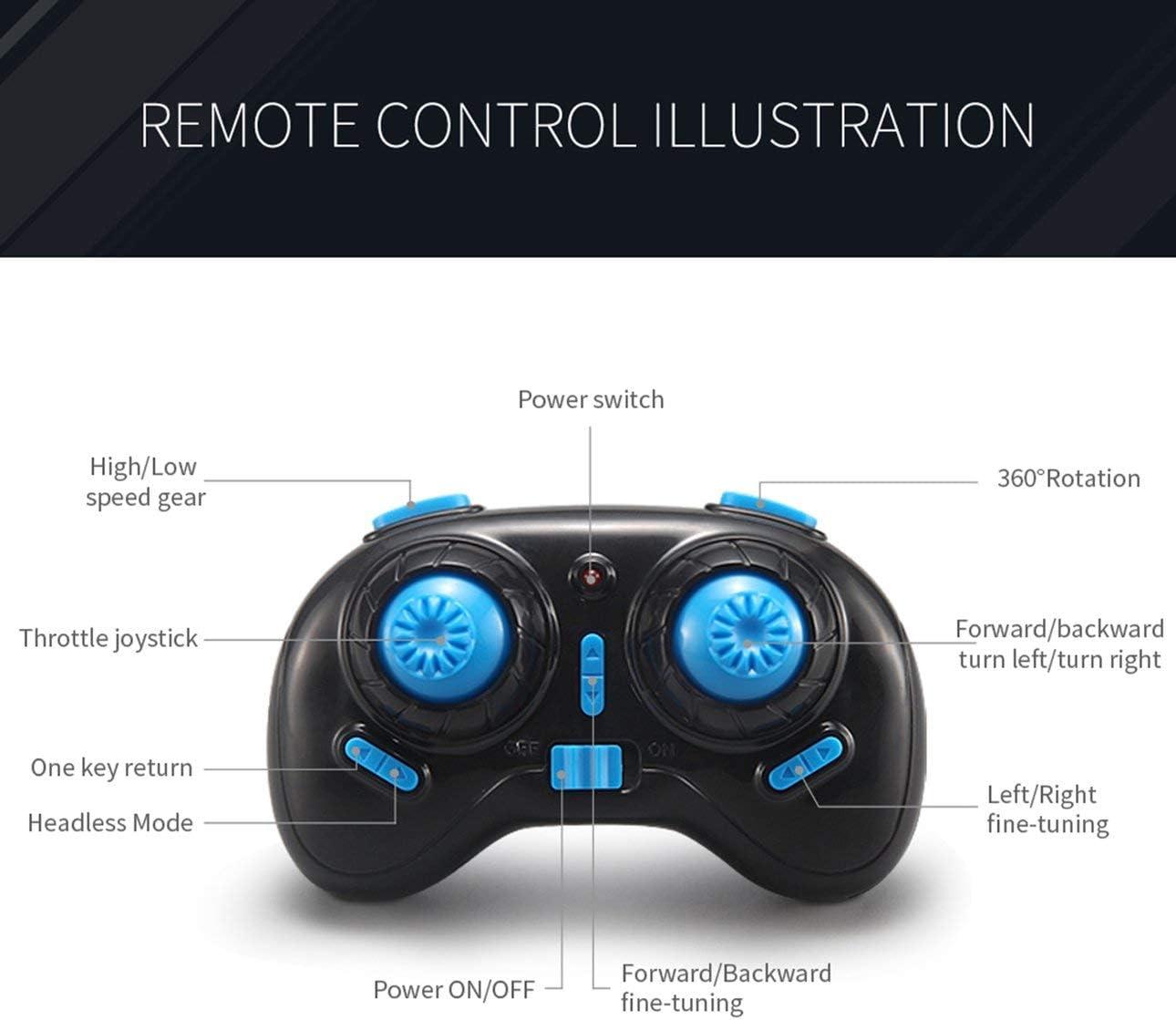Deniseonuk H36 Mini Drone Rc Drone Quadcopters avec Mode sans Tête Une Clé Retour Six Axes Rc Hélicoptère Jouets Cadeau pour Enfants Bleu