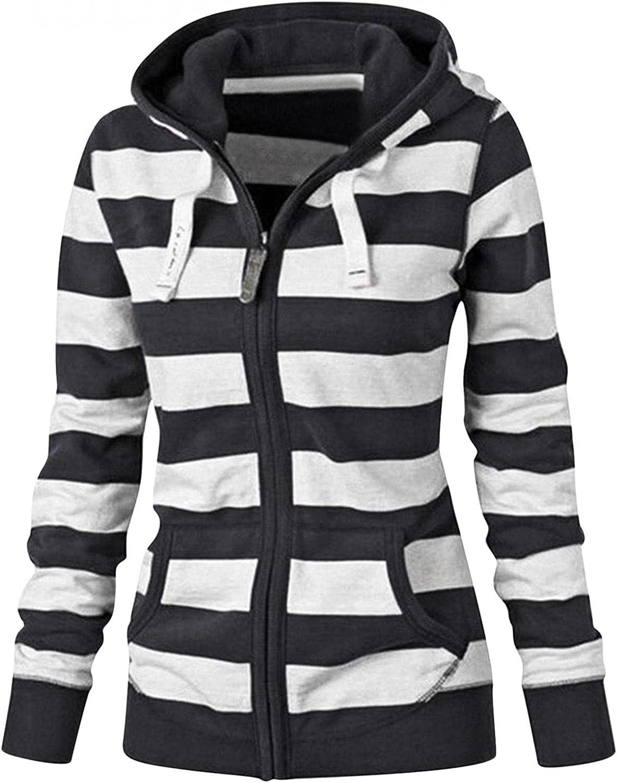 Ladies Long Sleeve Hooded Sweatshirt Sexy Zipper Tops Hoodie Fashion Striped/Solid Comfy Fall Winter Sweatshirt Coat Jacket
