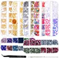 Anezus 7 Boxes Nail Rhinestones Nail Art Supplies Nail Studs 3D Nail Gems Jewels with Pickup Tools for Nails Decoration Makeup Clothes Shoes