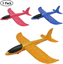 Glider Plane, Womdee 3 Pack Large Throwing Foam Airplane Toys Manual Circling Functions Aeroplane Gliders Best Outdoor Fun for 3 4 5 6 7 8 Year Old Boys Girls Kids (Blue/Red/Yellow)