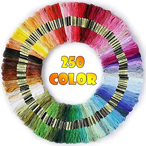 Stickgarn Embroidery Floss Weicher Baumwolle Perfekt Regenbogenfarben Fäden für Freundschaftsbänder Stickerei Kreuzstich (250 Stück)